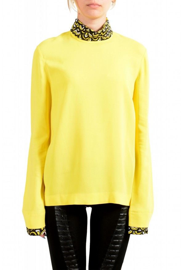 Just Cavalli Women's Bright Yellow Long Sleeve Blouse Top