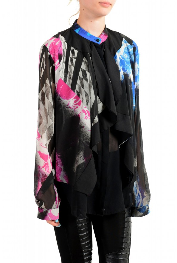 Just Cavalli Women's Multi-Color Silk Ruffled Blouse Top : Picture 2
