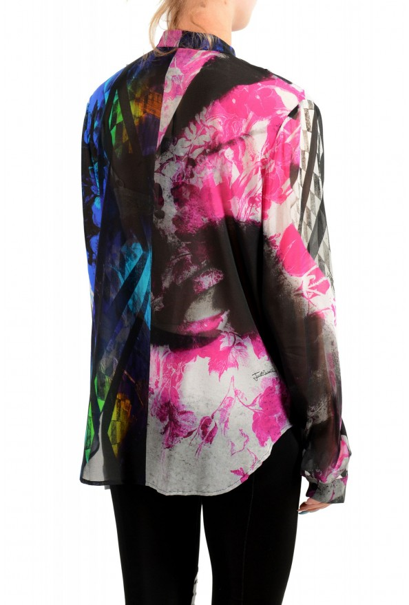 Just Cavalli Women's Multi-Color Silk Ruffled Blouse Top : Picture 3