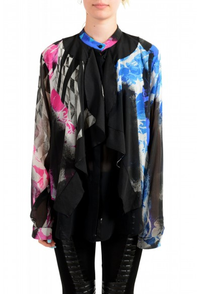 Just Cavalli Women's Multi-Color Silk Ruffled Blouse Top