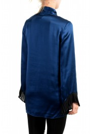 Just Cavalli Women's Navy Blue Bow Decorated Ruffled Blouse Top : Picture 3