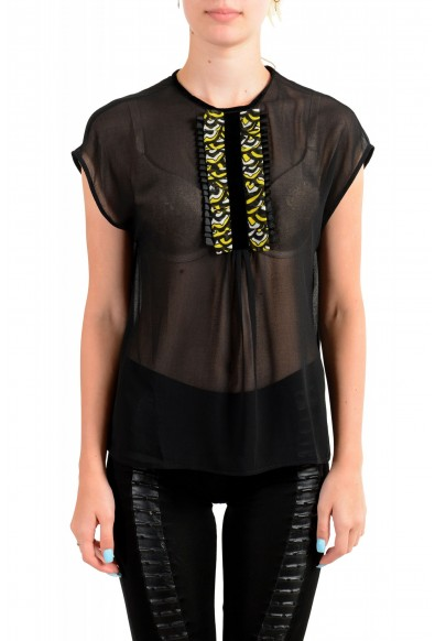 Just Cavalli Women's Black See Through Sleeveless Blouse Top
