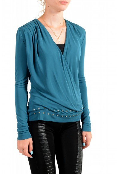 Just Cavalli Women's Pine Green Deep V-Neck Blouse Top : Picture 2