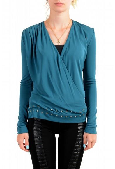 Just Cavalli Women's Pine Green Deep V-Neck Blouse Top