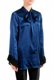 Just Cavalli Women's Navy Blue Bow Decorated Ruffled Blouse Top : Picture 2