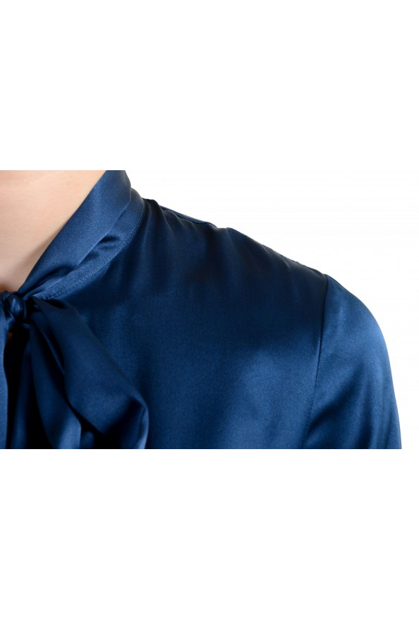Just Cavalli Women's Navy Blue Bow Decorated Ruffled Blouse Top : Picture 4