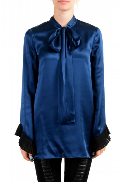 Just Cavalli Women's Navy Blue Bow Decorated Ruffled Blouse Top