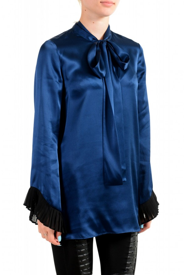 Just Cavalli Women's Navy Blue Bow Decorated Ruffled Blouse Top: Picture 2