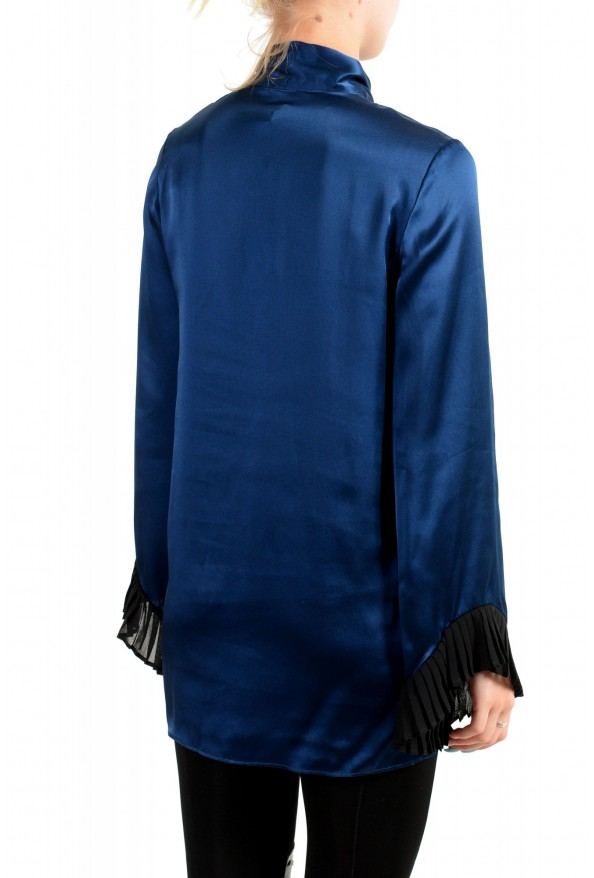 Just Cavalli Women's Navy Blue Bow Decorated Ruffled Blouse Top: Picture 3