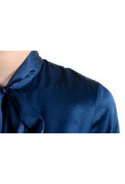 Just Cavalli Women's Navy Blue Bow Decorated Ruffled Blouse Top: Picture 4