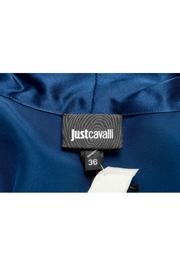 Just Cavalli Women's Navy Blue Bow Decorated Ruffled Blouse Top: Picture 5