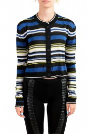 Just Cavalli Women's Multi-Color Striped Cropped Cardigan Sweater