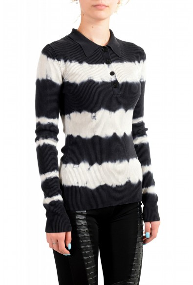 Versace Women's Multi-Color 100% Silk Striped Polo Style Sweater : Picture 2