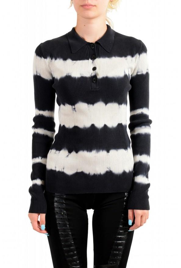 Versace Women's Multi-Color 100% Silk Striped Polo Style Sweater