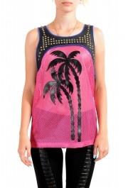 Dsquared2 Women's Leather Metal Studs Decorated See through Tank Top