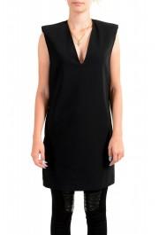Versace Women's Black Deep V-Neck Mini Dress