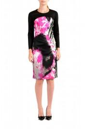 Just Cavalli Women's Multi-Color Crewneck Long Sleeve Bodycon Dress