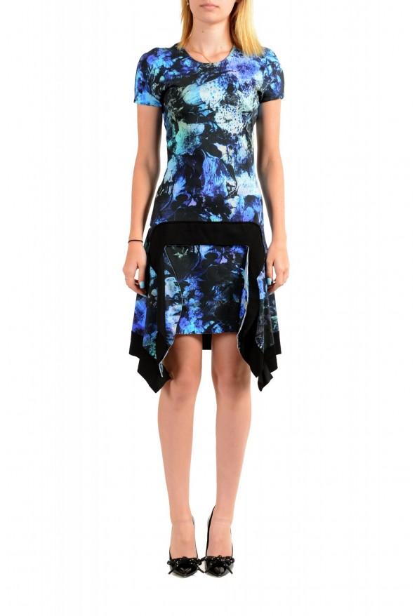 Just Cavalli Women's Multi-Color Floral Print Crewneck Stretch Fit & Flare Dress