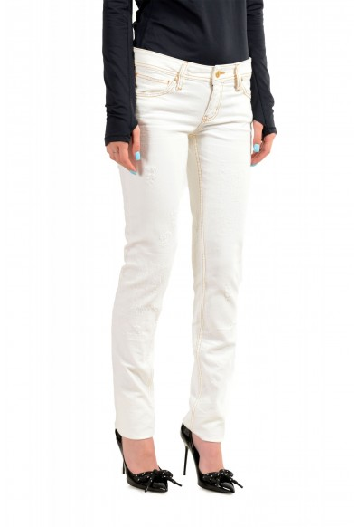 Just Cavalli Women's Ivory Distressed Look Skinny Jeans: Picture 2