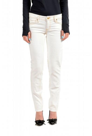 Just Cavalli Women's Ivory Distressed Look Skinny Jeans