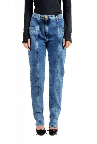 Versace Women's Medium Wash High Waisted Denim Pants