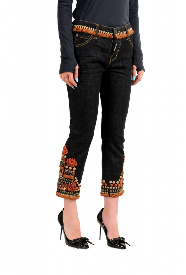 """Dsquared2 Women's """"Cool Girl Cropped Jean"""" Ebroidered Blue Jeans : Picture 2"""