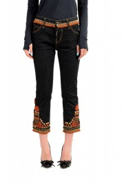 """Dsquared2 Women's """"Cool Girl Cropped Jean"""" Ebroidered Blue Jeans"""