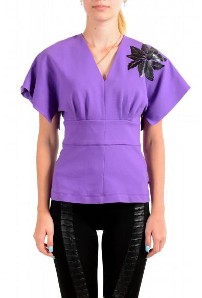 Just Cavalli Women's Purple Short Sleeve Blouse Top