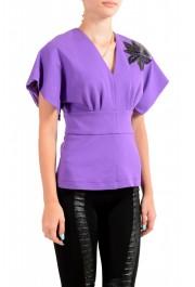 Just Cavalli Women's Purple Short Sleeve Blouse Top : Picture 2