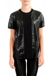 Just Cavalli Women's Black Short Sleeve Perforated Blouse Top