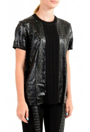 Just Cavalli Women's Black Short Sleeve Perforated Blouse Top: Picture 2