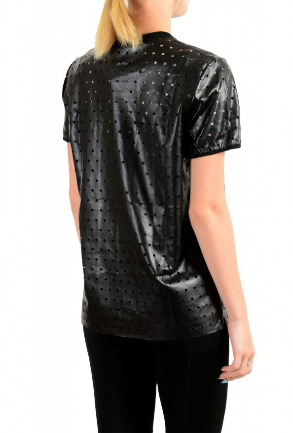 Just Cavalli Women's Black Short Sleeve Perforated Blouse Top: Picture 3