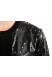 Just Cavalli Women's Black Short Sleeve Perforated Blouse Top: Picture 4