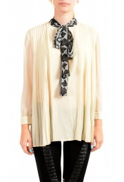 Just Cavalli Women's Beige Scarf Decorated Pleated Blouse Top