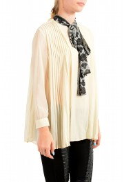 Just Cavalli Women's Beige Scarf Decorated Pleated Blouse Top: Picture 2