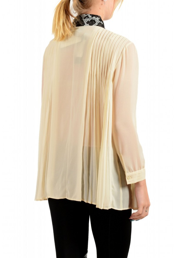 Just Cavalli Women's Beige Scarf Decorated Pleated Blouse Top: Picture 3