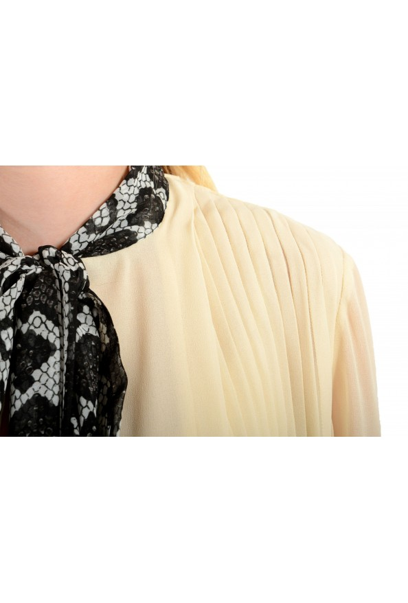 Just Cavalli Women's Beige Scarf Decorated Pleated Blouse Top: Picture 4