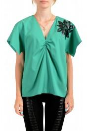 Just Cavalli Women's Emerald Green Wool Short Sleeve Blouse Top