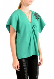 Just Cavalli Women's Emerald Green Wool Short Sleeve Blouse Top: Picture 2