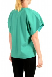 Just Cavalli Women's Emerald Green Wool Short Sleeve Blouse Top: Picture 3