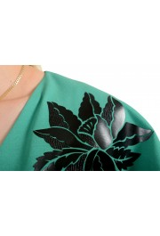 Just Cavalli Women's Emerald Green Wool Short Sleeve Blouse Top: Picture 4