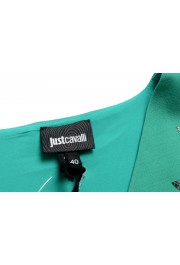 Just Cavalli Women's Emerald Green Wool Short Sleeve Blouse Top: Picture 5