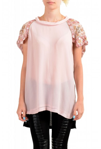 Just Cavalli Women's Pink Embellished Short Sleeve Blouse Top