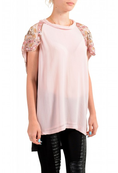 Just Cavalli Women's Pink Embellished Short Sleeve Blouse Top : Picture 2