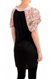Just Cavalli Women's Pink Embellished Short Sleeve Blouse Top : Picture 3