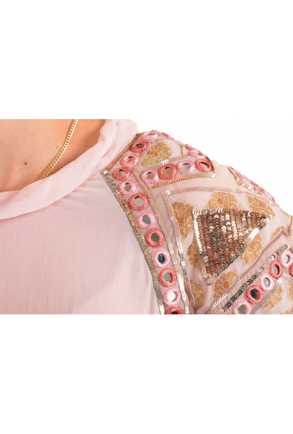 Just Cavalli Women's Pink Embellished Short Sleeve Blouse Top : Picture 4