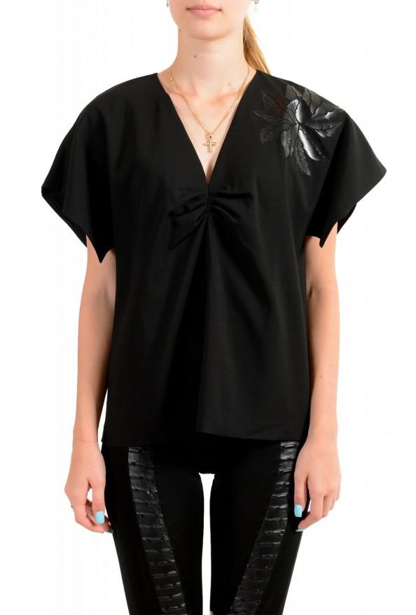 Just Cavalli Women's Black Wool Short Sleeve Blouse Top