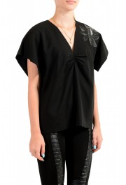Just Cavalli Women's Black Wool Short Sleeve Blouse Top: Picture 2