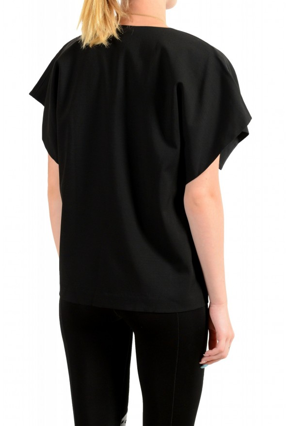 Just Cavalli Women's Black Wool Short Sleeve Blouse Top: Picture 3
