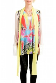 Just Cavalli Women's Multi-Color Scarf Decorated Silk Blouse Top